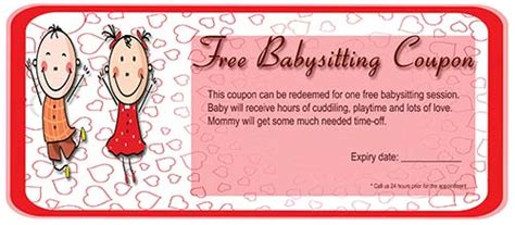 babysitting coupon template free babysitting coupon template 3 demplates