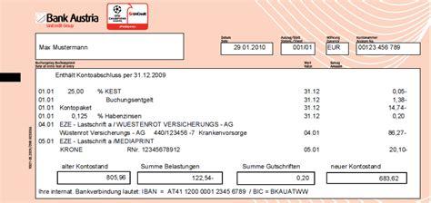 bank austria kontoauszug finanzplanung mit dem girokonto bank austria