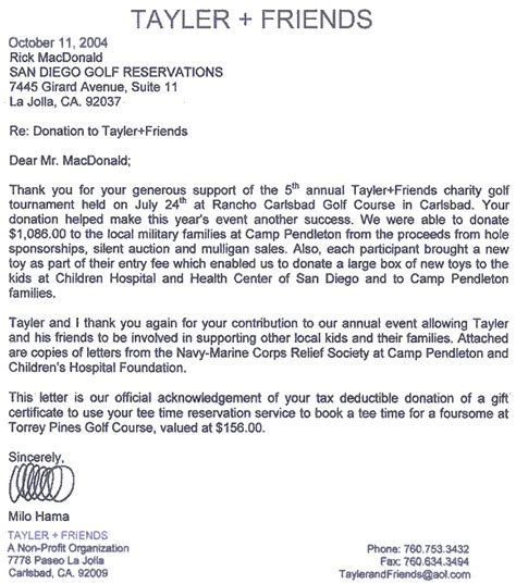 thank you letter to friend san diego golf san diego golf charity golf tournaments