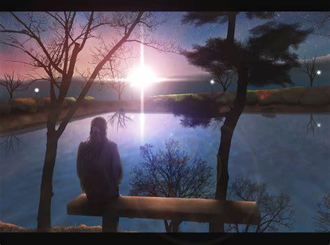 wallpaper of girl sitting alone anime girls sitting alone lakes sunset original characters