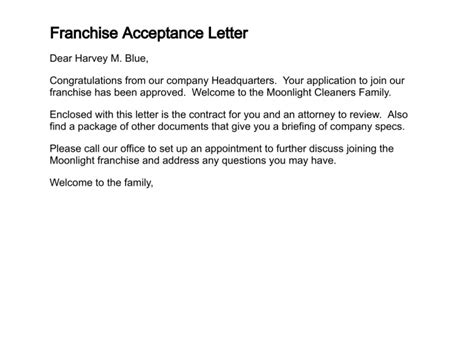 Letter Of Intent To Purchase Franchise How To Write A Letter Of Acceptance