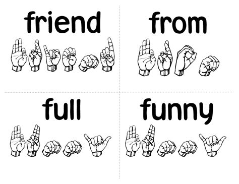 Sign Words sign language simple loving printable