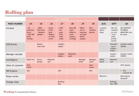 Project Communication Plan Exle Template Business Project Management Grid Template