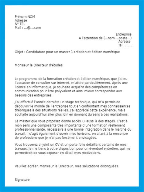 exemple de lettre de motivation pour un stage gratuit 224 t 233 l 233 charger