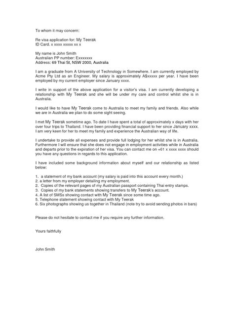 Support Letter For Visa Australia Visitor Visa Invitation Letter Invitation Librarry