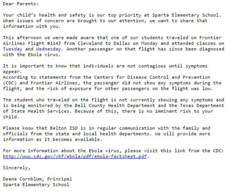 Research Paper Letter To Parents Tx Elementary School Alerts Parents To Possible Ebola Exposure