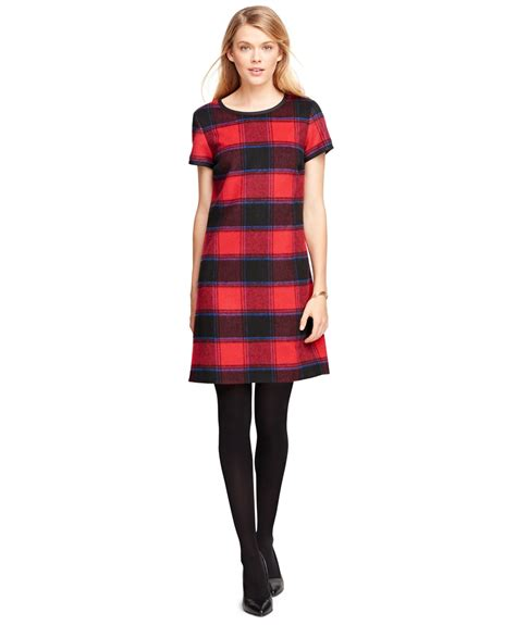 Check Dress brothers wool sleeve buffalo check dress in