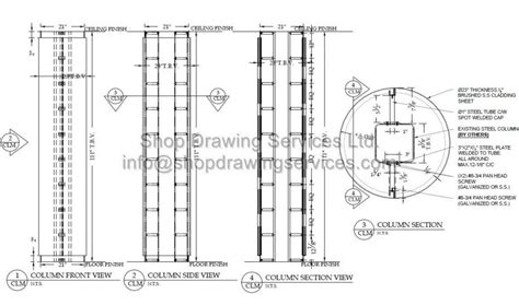 Architectural Cad Drafting Services stainless steel column cladding shop drawings