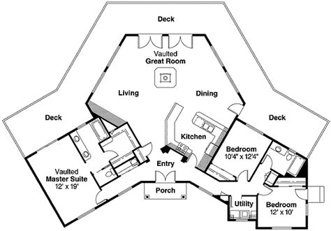 hexagon house floor plans hexagonal house plan with vaulted great room 72494da