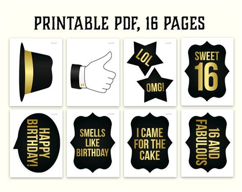 printable photo booth props sweet 16 sweet 16 photo booth props printable pdf sweet by hatacrobat