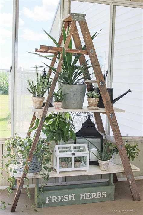 Wooden Ladder Garden Decor Updates To Our Antique Ladder Shelving Grows