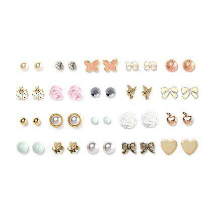 Stud Earring Set assorted multi metal stud earrings set of 20 claires