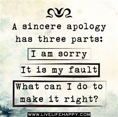 sincere apology   parts       fault