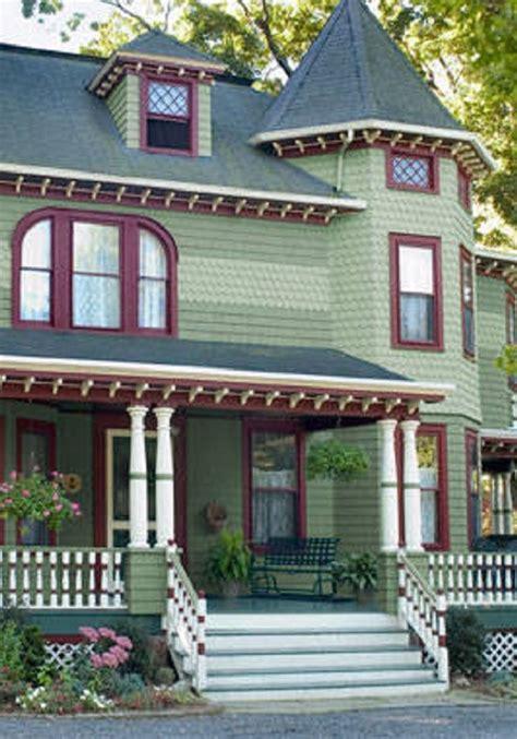 pale medium greens burgundy white trims with dark dreen door exterior color schemes