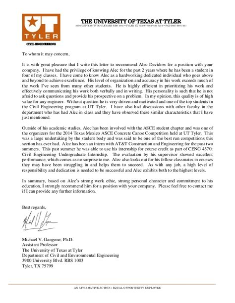 Recommendation Letter From Employer Engineering Letter Of Recommendation Ut
