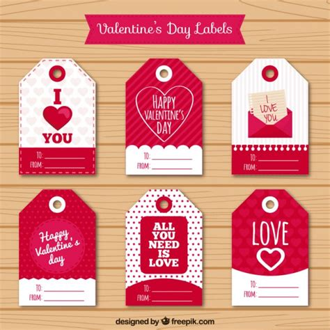 valentines day tags pack vector free