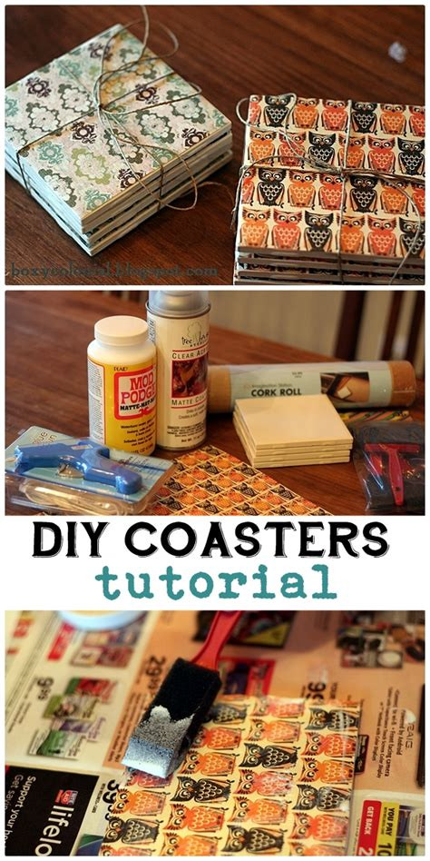 making coasters from inexpensive tile and scrapbook paper