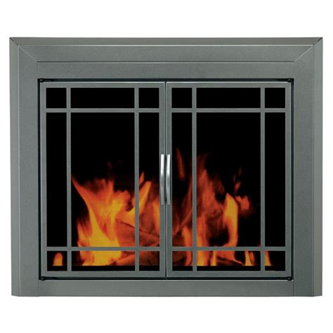 pleasant hearth edinburg medium glass fireplace doors ed