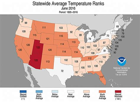 us weather map june national climate report june 2016 state of the climate