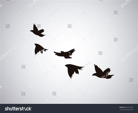 bird silhouette tattoo vector silhouette flying birds on white stock vector