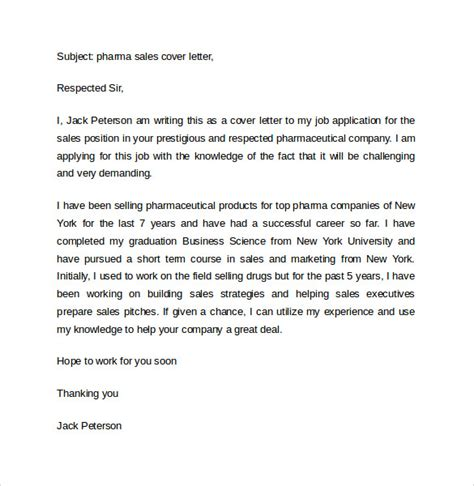 Cover Letter For Pharmaceutical Sales by Sales Cover Letter Template 8 Free Sles Exles Format