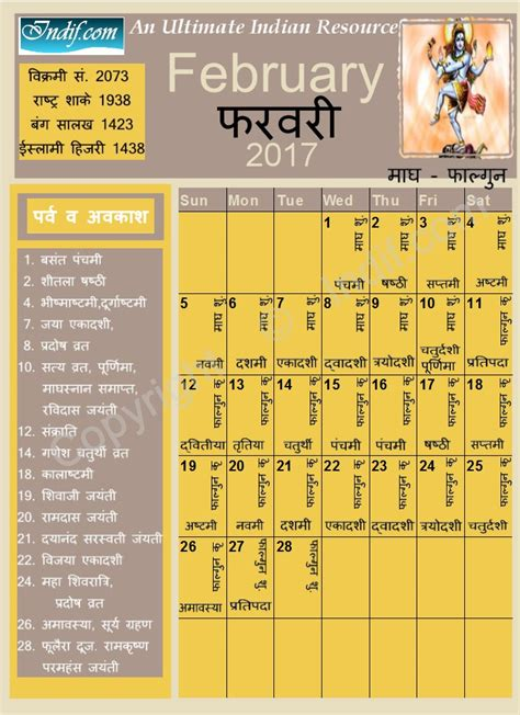 february 2017 indian calendar hindu calendar