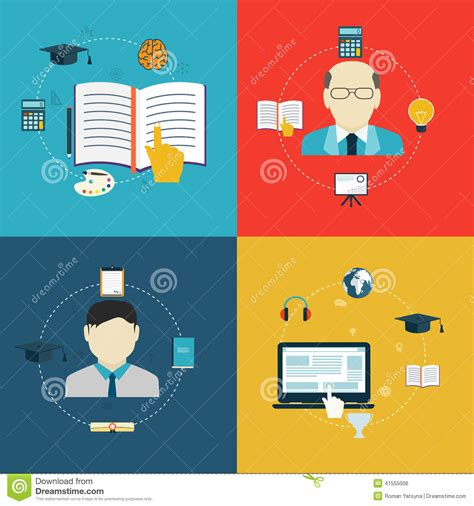 design online learning flat design icons of education online learning and