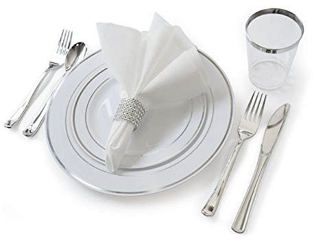 Tempat Makan Tableware Sets quot occasions quot set wedding disposable plastic plates plastic silverware silver rimmed