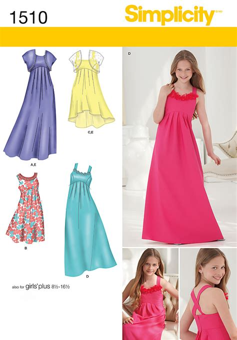 young bridesmaid dress pattern simplicity 1510 girls girls plus special occasion dress