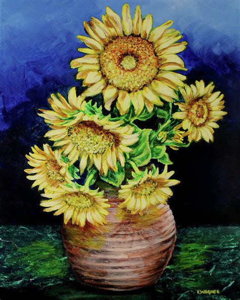 Vase Of Sunflowers by Vase Of Sunflowers Painting By Karl Wagner