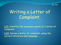 Complaint Letter Ppt Writing A Letter Of Complaint By Sazo123 Teaching Resources Tes