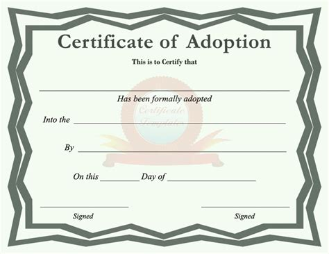 child adoption certificate template adoption certificate template free speedy