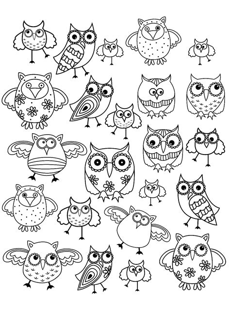 easy doodle coloring pages doodle owl doodle art adult coloring pages