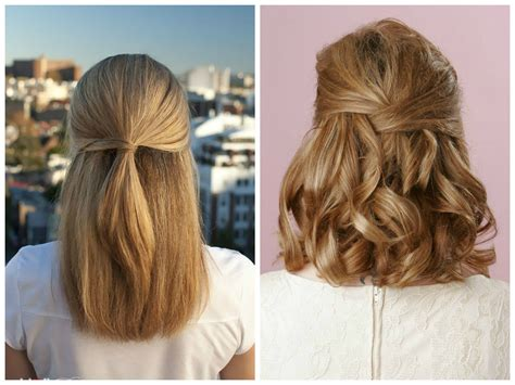 Half down hairstyles medium length hair half up half down hairstyles