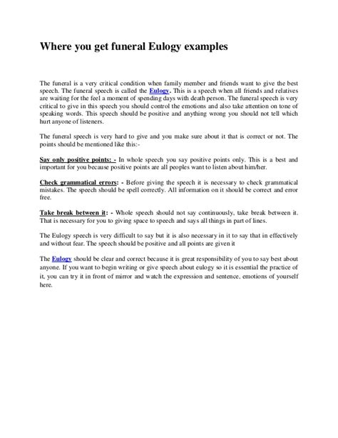 eulogy template for a friend where you get funeral eulogy exles