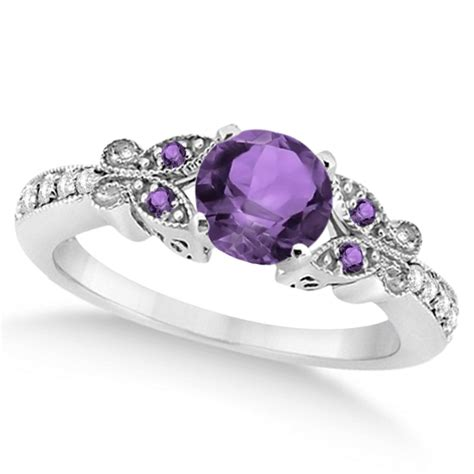 butterfly amethyst engagement ring 18k white