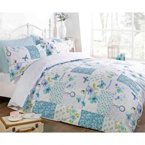 Blue Patchwork Duvet Cover - butterfly floral patchwork duvet cover reversible white