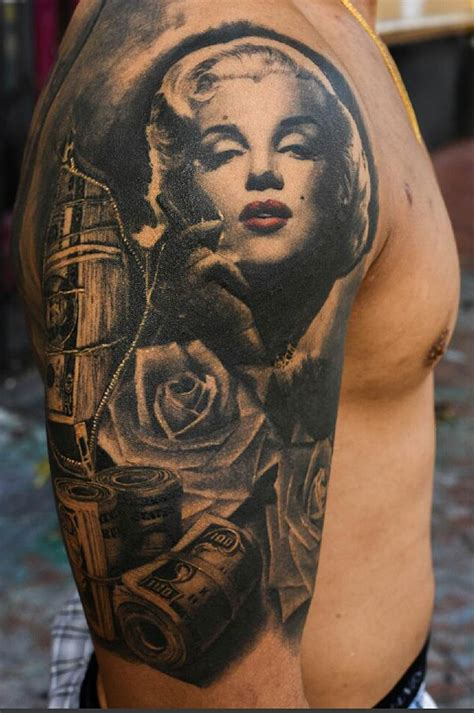 marilyn monroe money amp roses sleeve best tattoo design
