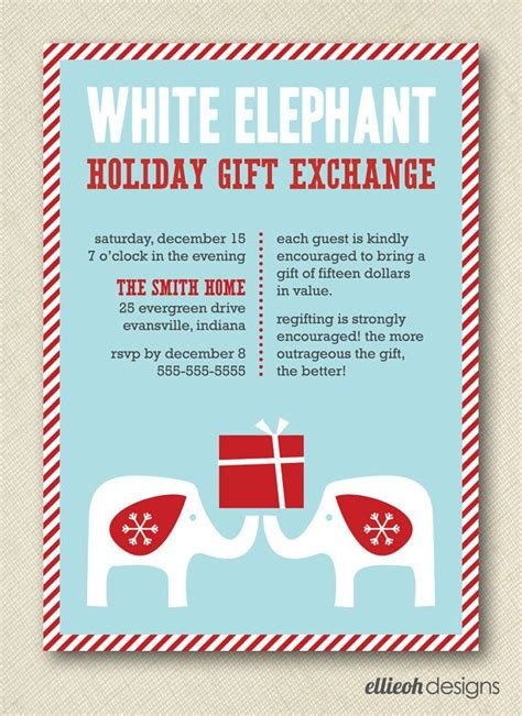christmas exchange undee 15 white elephant gift exchange invite printable 5x7 digital fil