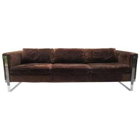 Suede Sofa Milo Baughman Chrome And Suede Sofa For Sale At 1stdibs