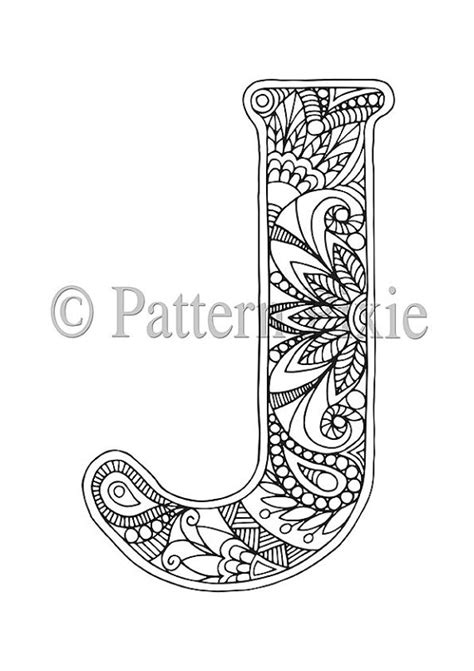 Adult Colouring Page Alphabet Letter J The Latter S Color