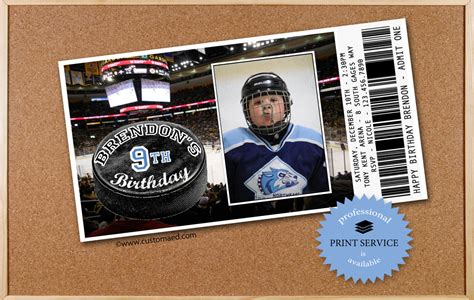 printable birthday invitations hockey theme hockey birthday invitations personalized with photo