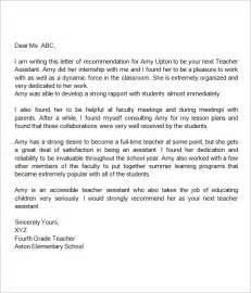 cover letter for classroom assistant recommendation letter for assistant