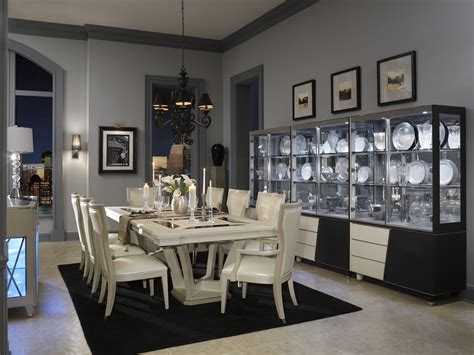 Michael Amini Dining Room Furniture Michael Amini Beverly Blvd Pearl Caviar Formal Dining Room Set By Aico