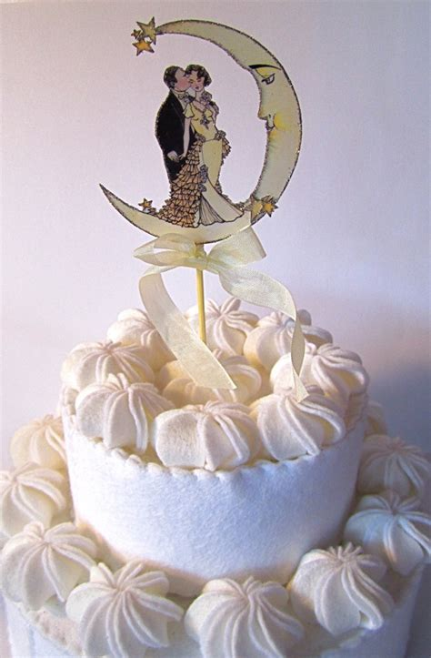 deco wedding cake toppers vintage moon wedding cake topper small size deco nouveau