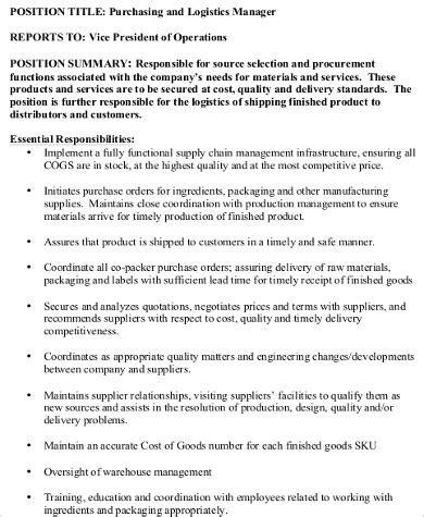 purchasing coordinator resume sle logistics clerk description sarahepps