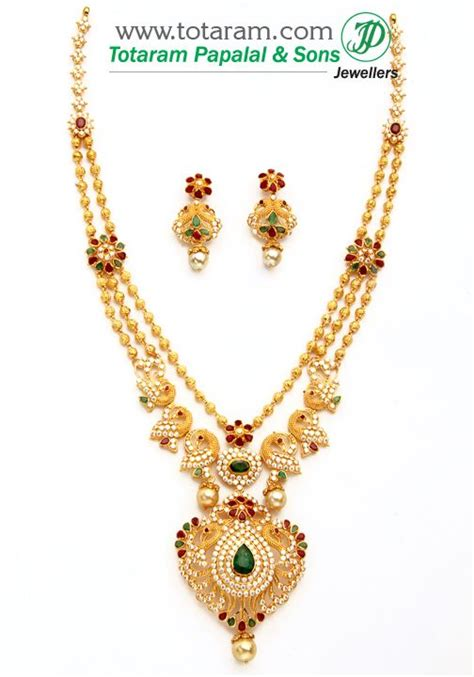 south hill design necklaces 22k gold peacock necklace ear hangings set with ruby