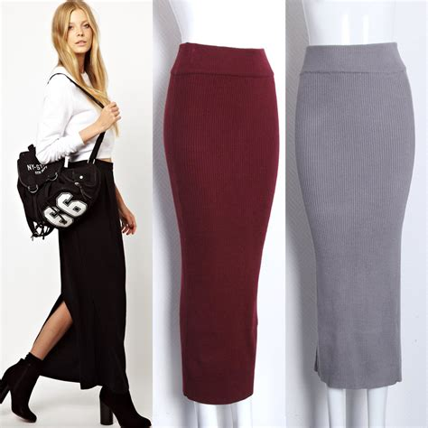 stretch knit ankle length pencil skirt search