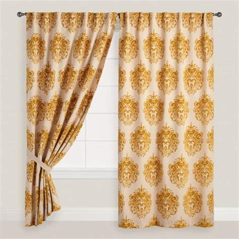 Concealed Tab Curtains Flocked Concealed Tab Top Curtains Set Of 2 World Market