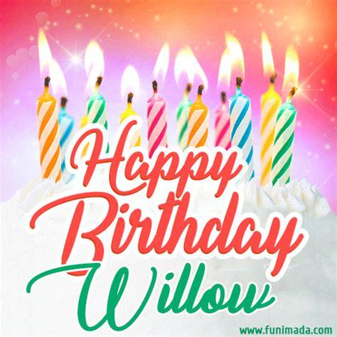 happy birthday gif  willow  birthday cake  lit candles   funimadacom